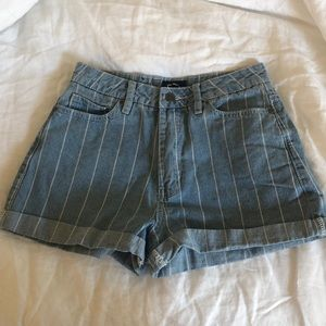 RVCA High Waisted Striped Jean Shorts Size 25